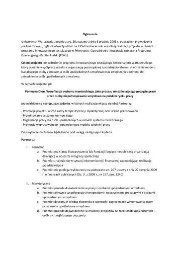 Ogłoszenie Uniwersytet Warszawski zgodnie z art. 28a ustawy z ...