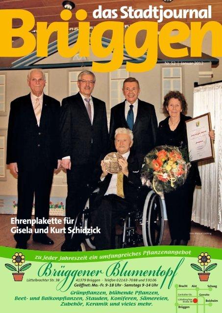 Ehrenplakette für Gisela und Kurt Schidzick - Stadtjournal Brüggen