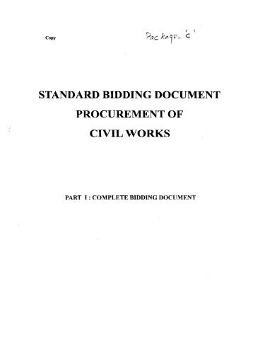 standard bidding document procurement of civil works