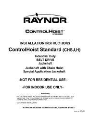 Jackshaft Installation Instructions - Raynor Garage Doors