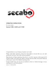 OPERATING INSTRUCTIONS for vinyl cutters Secabo C30III, C60III ...