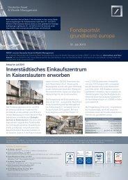 Fondsporträt grundbesitz europa Innerstädtisches ... - DWS