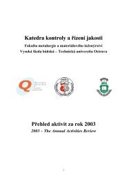 Přehled aktivit kat 639 - Vysoká škola báňská - Technická univerzita ...