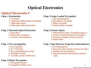 Optical Electronics - 4. Physikalisches Institut - Universität Stuttgart