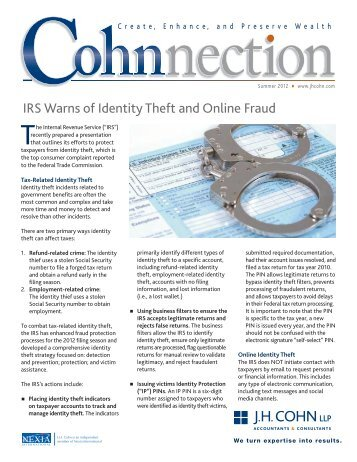 IRS Warns of Identity Theft and Online Fraud - CohnReznick