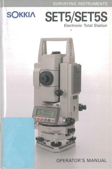 Operator S Manual Sokkia SET5 SET5S Glm