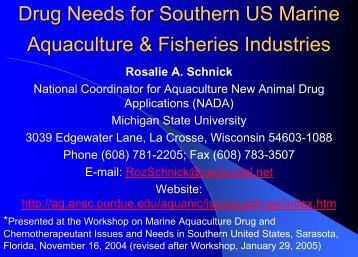 Drug Needs for Southern US Marine Aquaculture & Fisheries ...