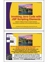 Invoking Java Code with JSP Scripting Elements - Java Programming