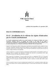 BAUX COMMERCIAUX ILAT : invalidation de la réforme du régime d ...