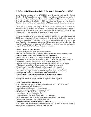 A Reforma do Sistema Brasileiro de Defesa da ... - Creativante