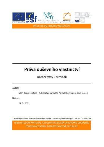 Práva duševního vlastnictví - Centrum pro rozvoj výzkumu ...