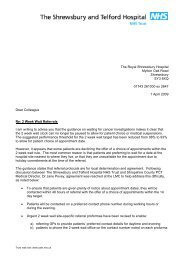 2 week wait letter for GP - Royal Shrewsbury Hospitals NHS Trust