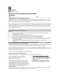 Physical Activity Readiness Questionnaire (PAR-Q)