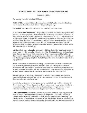 ARCHITECTURAL REVIEW BOARD MINUTES - City of Mandan