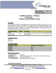FieldServer Driver - Fieldbus Profibus X30 DP Master Driver