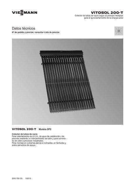 Datos técnicos Vitosol 200-T SP2 - Viessmann