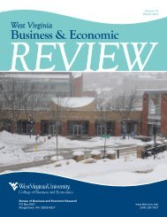 West Virginia Business & Economic - WVU College of Business and ...