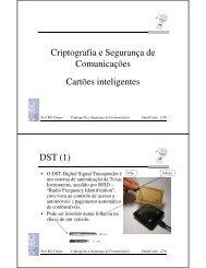Criptografia e Segurança de Comunicações Cartões inteligentes ...
