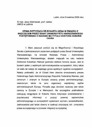 Lublin, dnia 8 kwietnia 2008 roku Dr hab. Jerzy Stelmasiak, prof ...