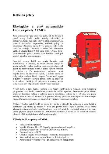 Podrobnější informace o automatických kotlích na pelety Atmos.