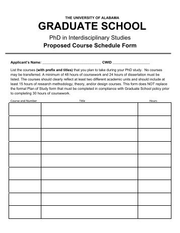 Proposed Course Schedule Form - Graduate School - The ...