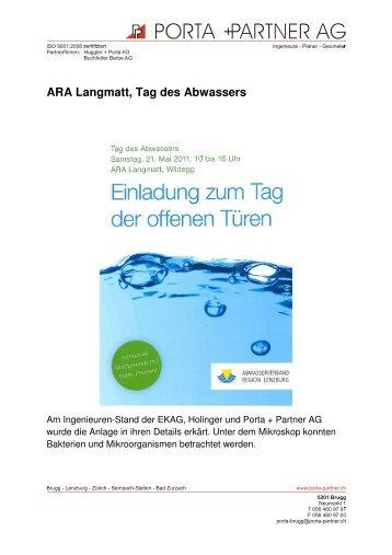 ARA Langmatt Tag des Abwassers vom 21. Mai 2011 ... - Porta AG