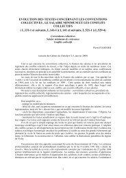 Evolution des textes concernant les conventions collectives, le ...