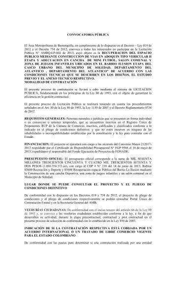 RESOLUCIÓN No - Area Metropolitana de Barranquilla