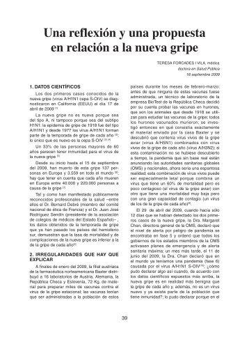 Una reflexión y una propuesta en relación a la nueva gripe