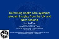 Reforming Healthcare Systems — Relevant Insights from England ...