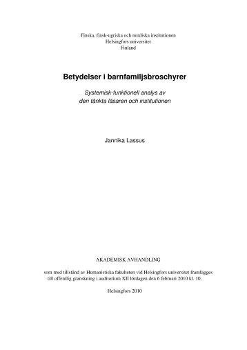 Betydelser i barnfamiljsbroschyrer. Systemisk ... - Helda - Helsinki.fi