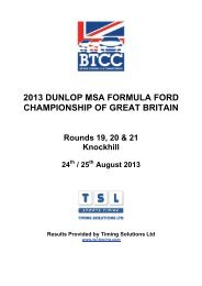 24_250813 Knockhill results - British Formula Ford