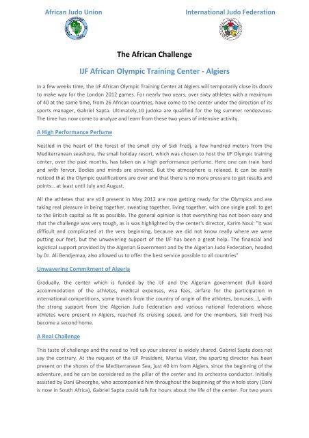 IJF African Olympic Training Center - Union Africaine de Judo