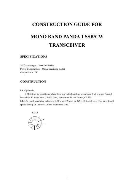 Construction Guide for Panda QRP Transceiver - Nitehawk