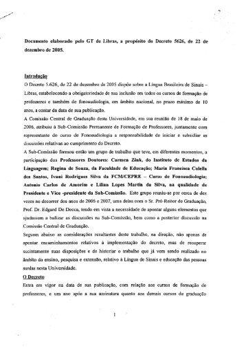 Documento elaborado pelo GT de Libras, a ... - IEL - Unicamp