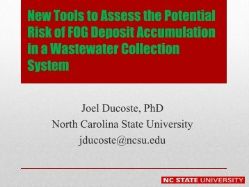 New Tools to Assess the Potential Risk of FOG Deposit ...
