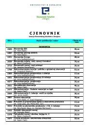 cjenovnik 2009 - Efsa.unsa.ba