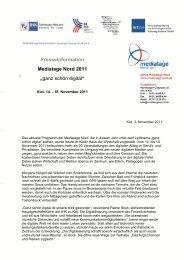 """Presseinformation Mediatage Nord 2011 """"ganz schön digital"""""""