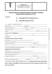 SCIA Cessazione attività di somministrazione - Comune di Lecce