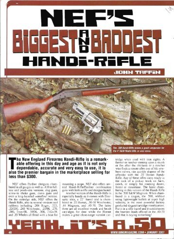 The New England Firearms Handi-Rifle is a remark- able offering in ...
