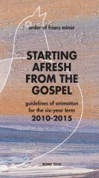 STARTING AFRESH FROM THE GOSPEL - OFM