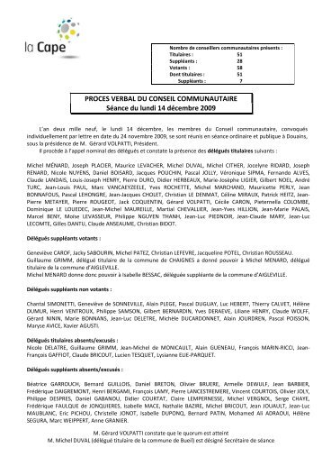 Conseil communautaire - Compte-rendu du 14 decembre ... - CAPE