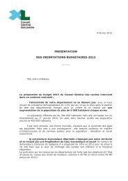 Le rapport de présentation et le cadrage financier pour 201
