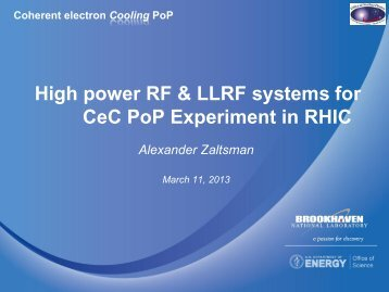 High power RF & LLRF systems for CeC PoP Experiment in RHIC