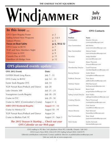 July 2012 - Oakville Yacht Squadron