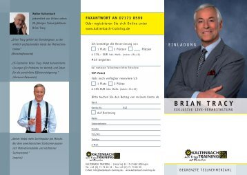 BRIAN TRACY - Beratergruppe Strategie eV