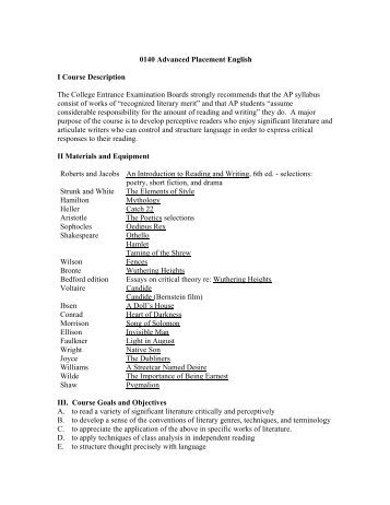 english literature course syllabus