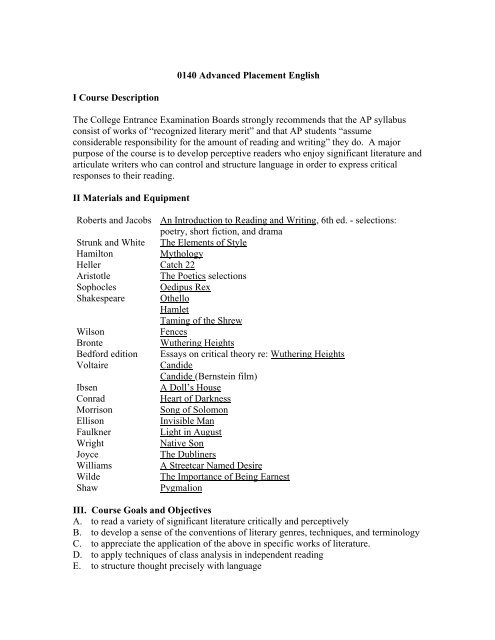 AP English Literature And Composition Syllabus Radnor