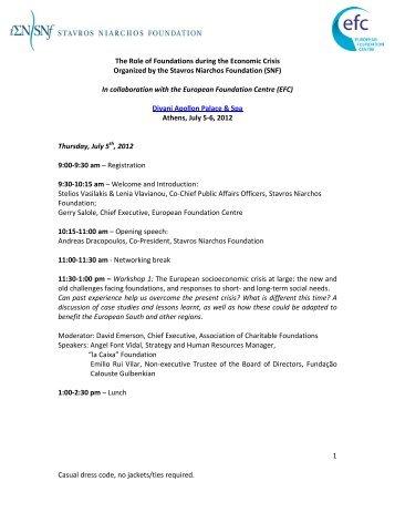 Conference Program - Stavros Niarchos Foundation