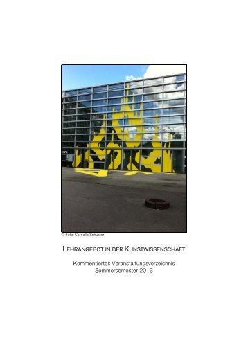 Kommentiertes Veranstaltungsverzeichnis Sommersemester 2013